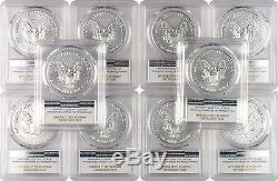 2016 $1 American Silver Eagle PCGS MS70 FS 30th Anniversary Label Lot of 10