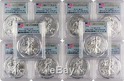 2016 $1 American Silver Eagle PCGS MS70 First Strike Flag Label Lot of 10