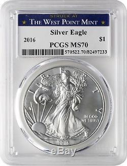 2016 $1 American Silver Eagle PCGS MS70 West Point Label Box of 20