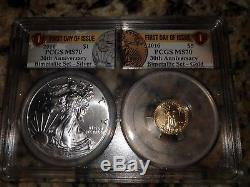 2016- 30th Anniversary American Eagle Gold/Silver Bimetallic Set PCGS MS70
