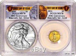 2016- 30th Anniversary American Eagle Gold/Silver Bimetallic Set PCGS MS70 FDI