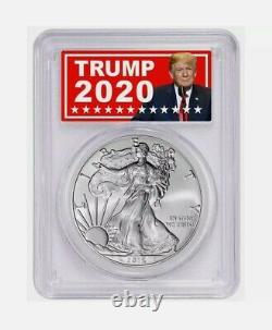 2016 American Eagle $1 PCGS MS70 TRUMP 2020 LABEL 30th Anniversary Silver Coin