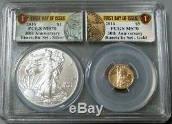 2016 American Eagle Gold / Silver Bimetallic Set First Day Of Issue Pcgs Ms70