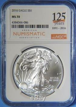 2016 American Silver Eagle 1oz ANA Celebrating 125 Years NGC Graded MS70