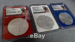 2016 American Silver Eagle NGC MS70 First Day Of Issue Red, White, & Blue Slabs