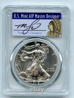 2016 (P) $1 American Silver Eagle 1oz PCGS MS70 Thomas Cleveland Native