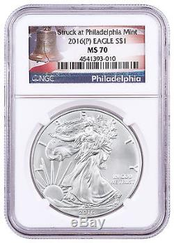 2016-(P) American Silver Eagle NGC MS70 Liberty Bell Label SKU46678