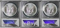 2016 P S W American Silver Eagle ANACS MS70 Set Item#T9843-T9847