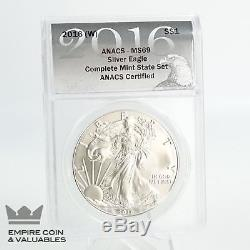 2016 P, S, W, American Silver Eagle Set, ANACS, MS 69 D4