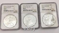 2016 (P) (W) (S) American Silver Eagle NGC MS69 3 COIN SET Brown Label