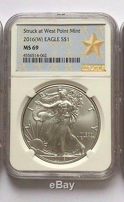 2016 (P) (W) (S) American Silver Eagle NGC MS69 3 COIN SET MS 69 White Core