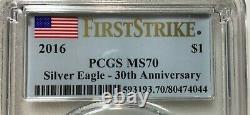 2016 Silver Eagle Pcgs Ms70 First Strike 30th Anniversary Silver Eagle Box Of 20