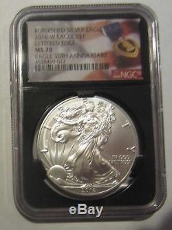 2016-W American Silver Eagle Burnished NGC MS70 Lettered Edge