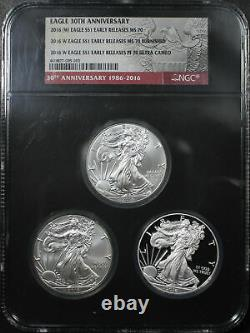 2016-W-(W) American Silver Eagle 3 Coin Set NGC MS-70, MS-70 Burnished, PF-70 UC