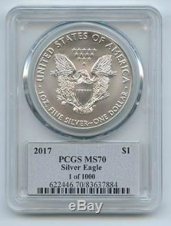 2017 $1 American 1oz Silver Eagle PCGS MS70 Thomas Cleveland Signed 1 of 1000