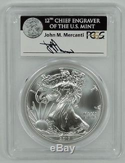 2017 $1 American Silver Eagle Coin PCGS MS70 FDI Mercanti Signed Pop 1000