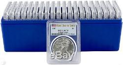 2017 $1 American Silver Eagle PCGS MS70 First Day of Issue Box of 20