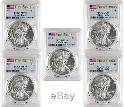 2017 $1 American Silver Eagle PCGS MS70 First Strike Blue Flag Label Lot of 5