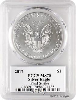 2017 $1 American Silver Eagle PCGS MS70 First Strike Donald Trump Box of 20