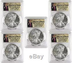2017 $1 American Silver Eagle PCGS MS70 First Strike Donald Trump Lot of 5