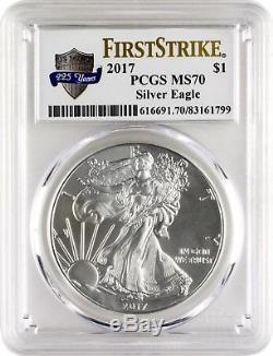 2017 $1 American Silver Eagle PCGS MS70 First Strike US Mint 225 Years-Lot of 5