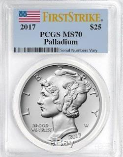 2017 1 oz Palladium American Eagle $25 PCGS MS70 FIRST STRIKE