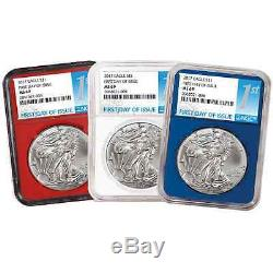 2017 3pc. $1 American Silver Eagle NGC MS69 FDI First Label Red, White, and Blue