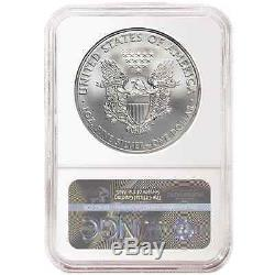 2017 3pc. $1 American Silver Eagle NGC MS70 Black FDI Label Red, White, and Blue