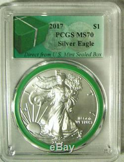 2017 American Silver Eagle $1 PCGS MS 70 GREEN CORE From Mint Sealed Box RARE