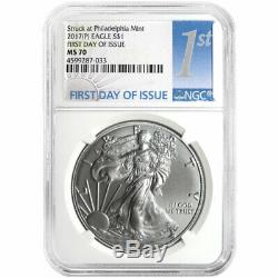 2017 (P) $1 American Silver Eagle NGC MS70 FDI First Label