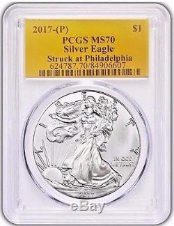 2017 (P) $1 American Silver Eagle PCGS MS70 STRUCK AT PHILADELPHIA POP JUST 94