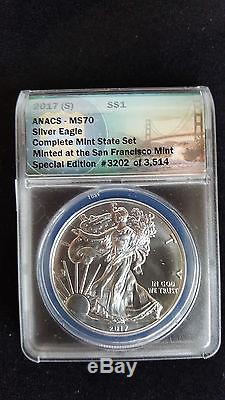 2017 (P)(S)(W) American Silver Eagles ANACS MS 70 Set