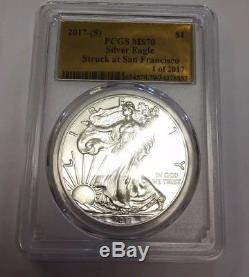 2017 P S W Silver American Eagle RARE PCGS MS70 GOLD FOIL LABEL PHILADELPHIA