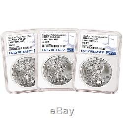2017 (P) (W) (S) 3pc. Set $1 American Silver Eagle NGC MS69 Blue ER Label