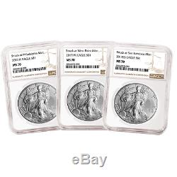 2017 (P) (W) (S) 3pc. Set $1 American Silver Eagle NGC MS70 Brown Label