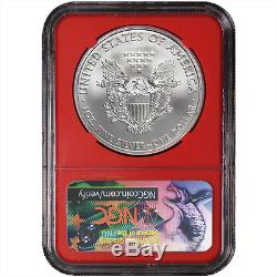 2017 (S) $1 American Silver Eagle NGC MS70 Black ER Label Red Core