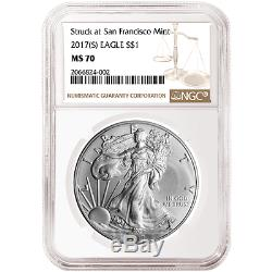 2017 (S) $1 American Silver Eagle NGC MS70 Brown Label