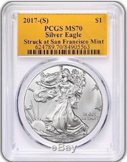 2017 (S) $1 American Silver Eagle PCGS MS70 Gold Foil Label POPULATION JUST 135