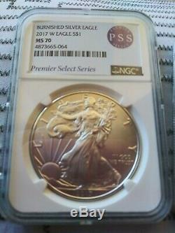2017 W MS70 Burnished American Silver Eagle NGC FIRST PSS