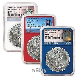 2017 (W)(S)(P) American Silver Eagle NGC MS-69 Location Labels, Color Core Set