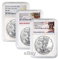 2017 (W)(S)(P) American Silver Eagle NGC MS-70 Mint Label Set