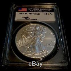 2017-p Ms70 Philadelphia Pcgs American Silver Eagle $1 John M. Mercanti