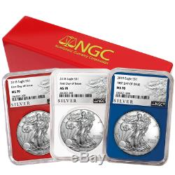 2018 $1 American Silver Eagle 3 pc. Set NGC MS70 ALS FDI Label Red White Blue