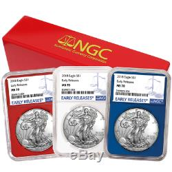 2018 $1 American Silver Eagle 3 pc. Set NGC MS70 Blue ER Label Red White Blue