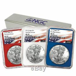 2018 $1 American Silver Eagle 3 pc. Set NGC MS70 FDI Flag Label Red White Blue