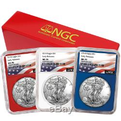 2018 $1 American Silver Eagle 3 pc. Set NGC MS70 Flag ER Label Red White Blue