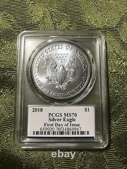 2018 $1 Silver Eagle PCGS MS70 First Day of Issue Donald Trump Label POP 150
