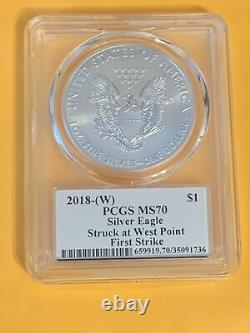 2018 W $1 Silver Eagle PCGS MS70 First Strike Donald Trump West Point