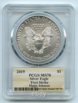 2019 $1 American Silver Eagle 1oz Dollar PCGS MS70 First Strike Magic Johnson