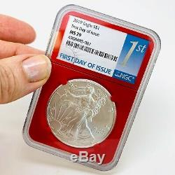 2019 American Silver Eagle 3-COIN SetNGC MS70RETRO COLOR COREASE COINFDI